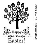 vintage card. easter egg tree.  ... | Shutterstock . vector #127455230
