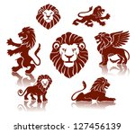 Stock vector lions silhouettes set 127456139