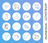 zoo icon set and cow with...