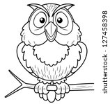 Illustration Of Cartoon Owl...