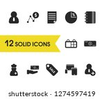 trade icons set with add person ...