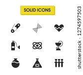 medicine icons set with test...