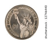 One Dollar Coin Isolated On A...