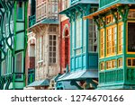 colored windows in the old town ... | Shutterstock . vector #1274670166