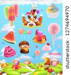 sweet candy land  cartoon game... | Shutterstock .eps vector #1274694970