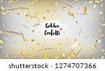 modern realistic gold tinsel... | Shutterstock .eps vector #1274707366