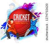 cricket with batsman playing... | Shutterstock .eps vector #1274732620
