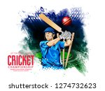 cricket with batsman playing... | Shutterstock .eps vector #1274732623