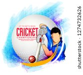 cricket with batsman playing... | Shutterstock .eps vector #1274732626