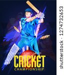 cricket with batsman playing... | Shutterstock .eps vector #1274732653