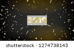 2019 realistic gold tinsel... | Shutterstock .eps vector #1274738143