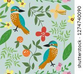 variety floral and bird pattern ... | Shutterstock .eps vector #1274740090