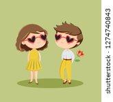 cute romantic couple in love... | Shutterstock .eps vector #1274740843