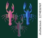 sea water beautiful lobster... | Shutterstock .eps vector #1274836969