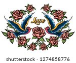 two birds and roses with... | Shutterstock . vector #1274858776
