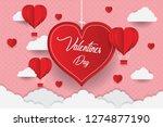 valentine's day concept  paper... | Shutterstock .eps vector #1274877190
