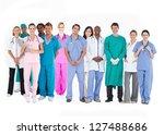 smiling medical team of doctors ...   Shutterstock . vector #127488686