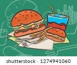 Hamburger Scene Vector Design...