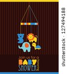 baby shower card design. vector ... | Shutterstock .eps vector #127494188