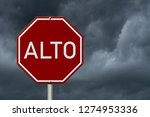 red and white alto stop sign...   Shutterstock . vector #1274953336