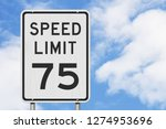 us 75 mph speed limit sign...   Shutterstock . vector #1274953696