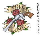 tattoo revolver and rose... | Shutterstock . vector #1274957806