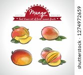 mango. hand drawn collection of ... | Shutterstock .eps vector #1274972659