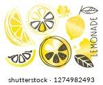 hand drawn doodle lemon art  ...   Shutterstock .eps vector #1274982493