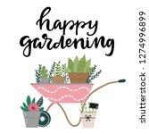 happy gardening hand drawn... | Shutterstock .eps vector #1274996899