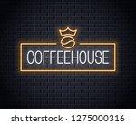coffee bean neon logo. neon... | Shutterstock .eps vector #1275000316