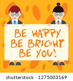 writing note showing be happy... | Shutterstock . vector #1275003169