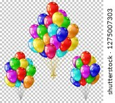 realistic color balloons set ... | Shutterstock .eps vector #1275007303