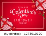 valentine's day web banner for... | Shutterstock .eps vector #1275010120