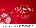 valentine's day web banner for... | Shutterstock .eps vector #1275010126