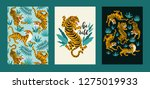Stock vector vector poster set of tigers and tropical leaves trendy illustration 1275019933