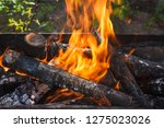 fire and firewood in a burning... | Shutterstock . vector #1275023026