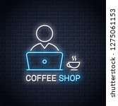 user with laptop neon banner....   Shutterstock .eps vector #1275061153