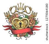 heart shape lock in rose... | Shutterstock . vector #1275064180