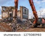 Excavator During Demolition Work