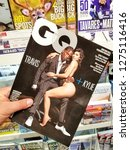 Small photo of TORONTO, CANADA - DECEMBER 9, 2018: Travis Scott and Kylie Jenner on a cover page of GQ magazine. GQ is an international monthly men's magazine.