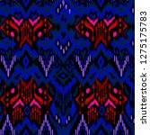 blue and red abstract ikat... | Shutterstock . vector #1275175783