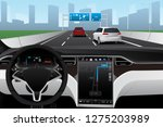 self driving car on a road.... | Shutterstock .eps vector #1275203989
