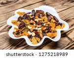 Plate Of Dried Fruits On Wooden ...