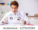 forensic expert studying... | Shutterstock . vector #1275225283