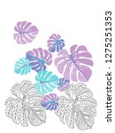 vector tropical pattern with... | Shutterstock .eps vector #1275251353