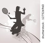 tennis girl background | Shutterstock .eps vector #127526960