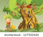 A big fantastic drawing - of tree - house for dwarfs and fairies - for children - stock photo