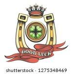 golden horse shoe with crown... | Shutterstock .eps vector #1275348469