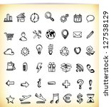 set of 42 hand drawn icon in... | Shutterstock .eps vector #127538129