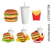 fast food burger  fries and... | Shutterstock . vector #127539758
